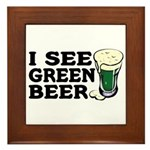 I See Green Beer St Pat's Framed Tile