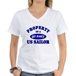 Property of a US Sailor Navy Women's V-Neck T-Shir