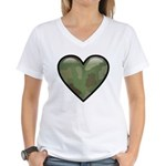 Love Military Cammo Heart Women's V-Neck T-Shirt