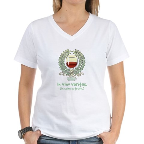 Wine Is Truth Women's V-Neck T-Shirt - CafePress
