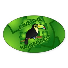 Save the Rainforest Sticker (Oval)