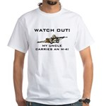 Watch Out! Military Uncle M-4 White T-Shirt