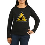 Warning: Clumsy! Women's Long Sleeve Dark T-Shirt