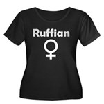 Ruffian Women's Plus Size Scoop Neck Dark T-Shirt