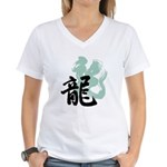 Kanji Dragon Art Women's V-Neck T-Shirt