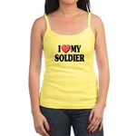 I Love (pink heart) My Soldier Jr. Spaghetti Tank