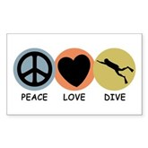 Peace Love Dive Rectangle Sticker