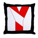 Scuba Flag Letter Y Throw Pillow