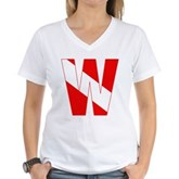 Scuba Flag Letter W Women's V-Neck T-Shirt