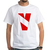 Scuba Flag Letter V White T-Shirt