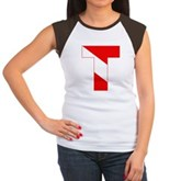 Scuba Flag Letter T Women's Cap Sleeve T-Shirt