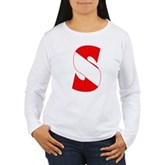 Scuba Flag Letter S Women's Long Sleeve T-Shirt