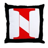 Scuba Flag Letter I Throw Pillow