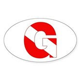 Scuba Flag Letter G Oval Sticker