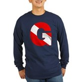 Scuba Flag Letter G Long Sleeve Dark T-Shirt