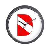 Scuba Flag Letter D Wall Clock
