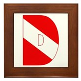 Scuba Flag Letter D Framed Tile