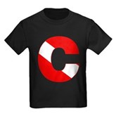 Scuba Flag Letter C Kids Dark T-Shirt