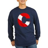 Scuba Flag Letter C Long Sleeve Dark T-Shirt