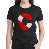 Scuba Flag Letter C Women's Dark T-Shirt