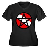 Scuba Flag Pentagram Women's Plus Size V-Neck Dark