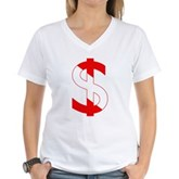 Scuba Flag Dollar Sign Women's V-Neck T-Shirt