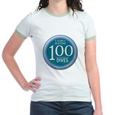 100 Dives Milestone Jr. Ringer T-Shirt