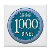 1000 Dives Milestone Tile Coaster