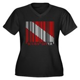 Barcode Dive Flag Women's Plus Size V-Neck Dark T-