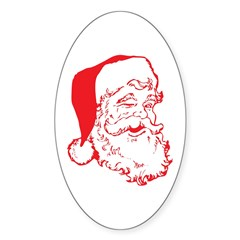 Santa Clip Art Sticker (Oval)