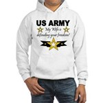 Army - My Wife is defending . Hooded Sweatshirt