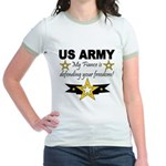 Army My Fiance is defending . Jr. Ringer T-Shirt