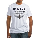 Navy Father Defending Fitted T-Shirt