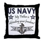 Navy Father Defending Throw Pillow
