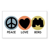 Peace Love Bird Rectangle Sticker