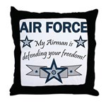 Airman Defending Freedom AF Throw Pillow
