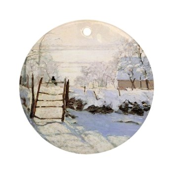 Magpie by Monet Round Ornament