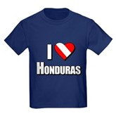  Scuba: I Love Honduras Kids Dark T-Shirt