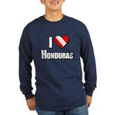 Scuba: I Love Honduras Long Sleeve Dark T-Shirt