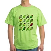 16 Birdorable Parrots Green T-Shirt
