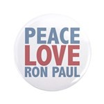 "Peace Love Ron Paul 3.5"" Button (100 pack)"