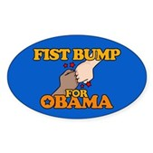 Fist Bump for Obama Oval Sticker