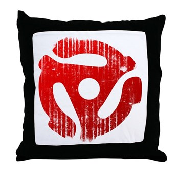 Distressed Red 45 RPM Adapter Throw Pillow