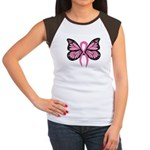 Breast Cancer Butterfly Women's Cap Sleeve T-Shirt