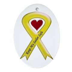 Keep My Sailor Safe Yellow Ribbon Keepsake (Oval)