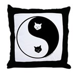 yin yang meow Throw Pillow