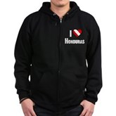  Scuba: I Love Honduras Zip Hoodie (dark)