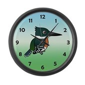 Green Kingfisher Large Wall Clock