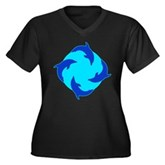 Dolphin Ring Women's Plus Size V-Neck Dark T-Shirt