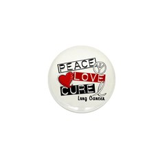 PEACE LOVE CURE Lung Cancer Mini Button